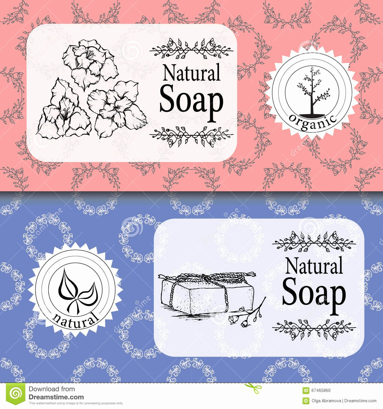 Vector Set Seamless Patterns Labels and Logo Design Templates for Handmade Natural soap