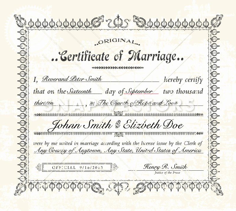 Vector Vintage Marriage Certificate On Old Paper Snap