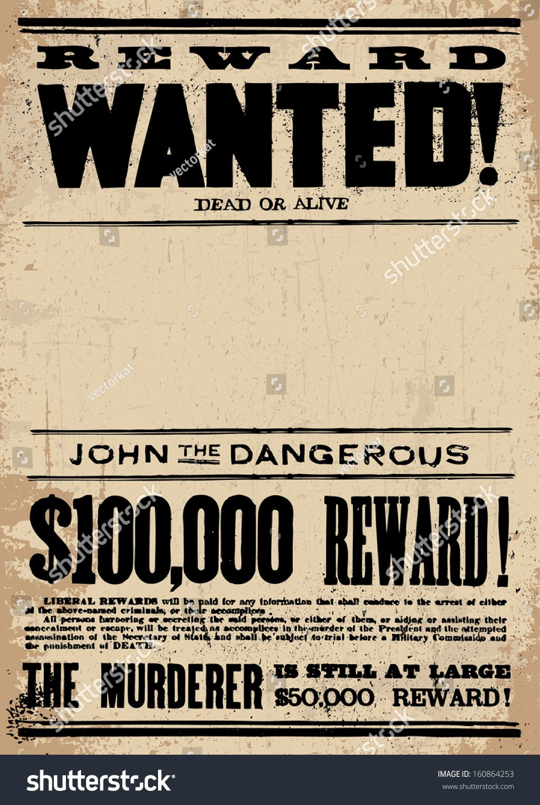 Vector Vintage Wanted Poster Template All Stock Vector