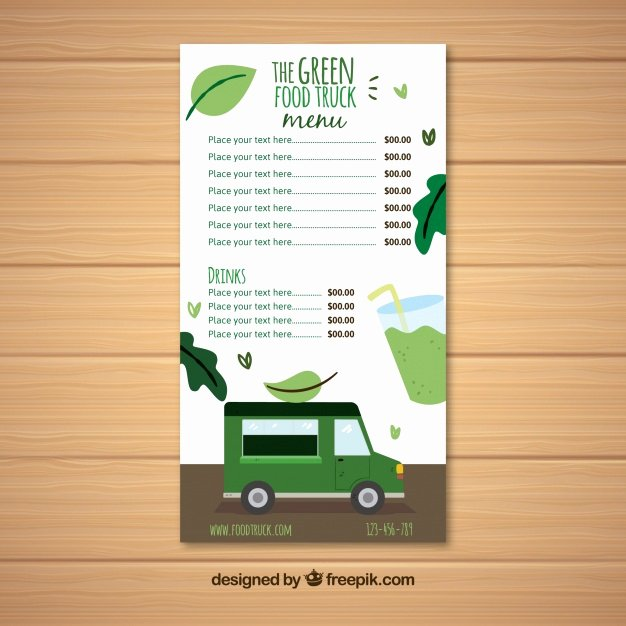 Vegan Food Truck Menu Template Vector