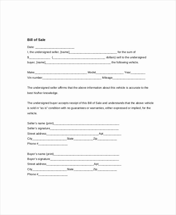 Vehicle Bill Of Sale Template 14 Free Word Pdf