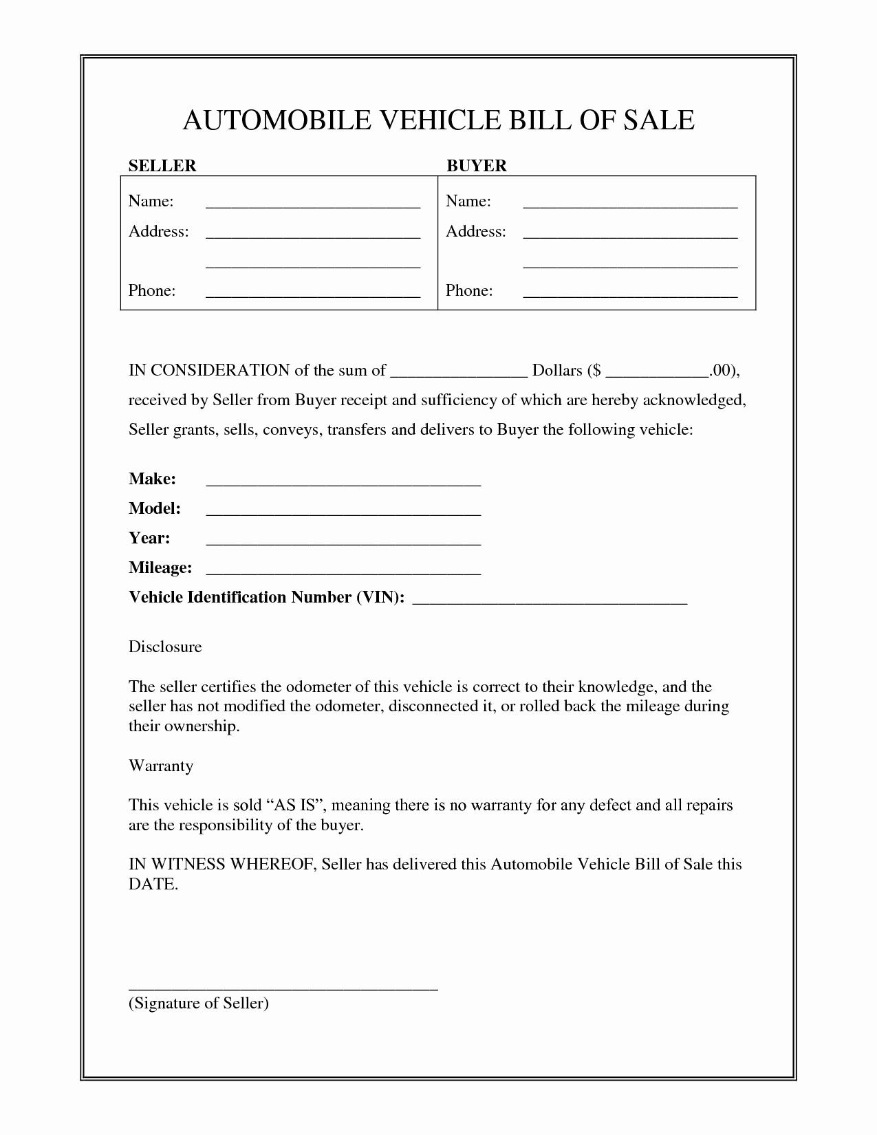 Vehicle Bill Sale Free Printable Documents