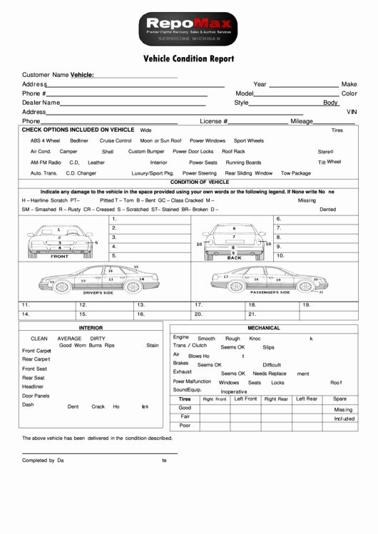 Vehicle Condition Report Template Printable Pdf