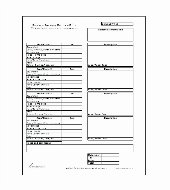 Vehicle Damage Template Water Estimate forms Car Invoice