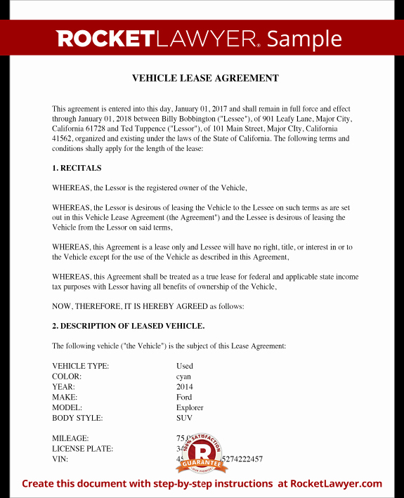 Vehicle Lease Agreement Sample Lease for Cars and Trucks