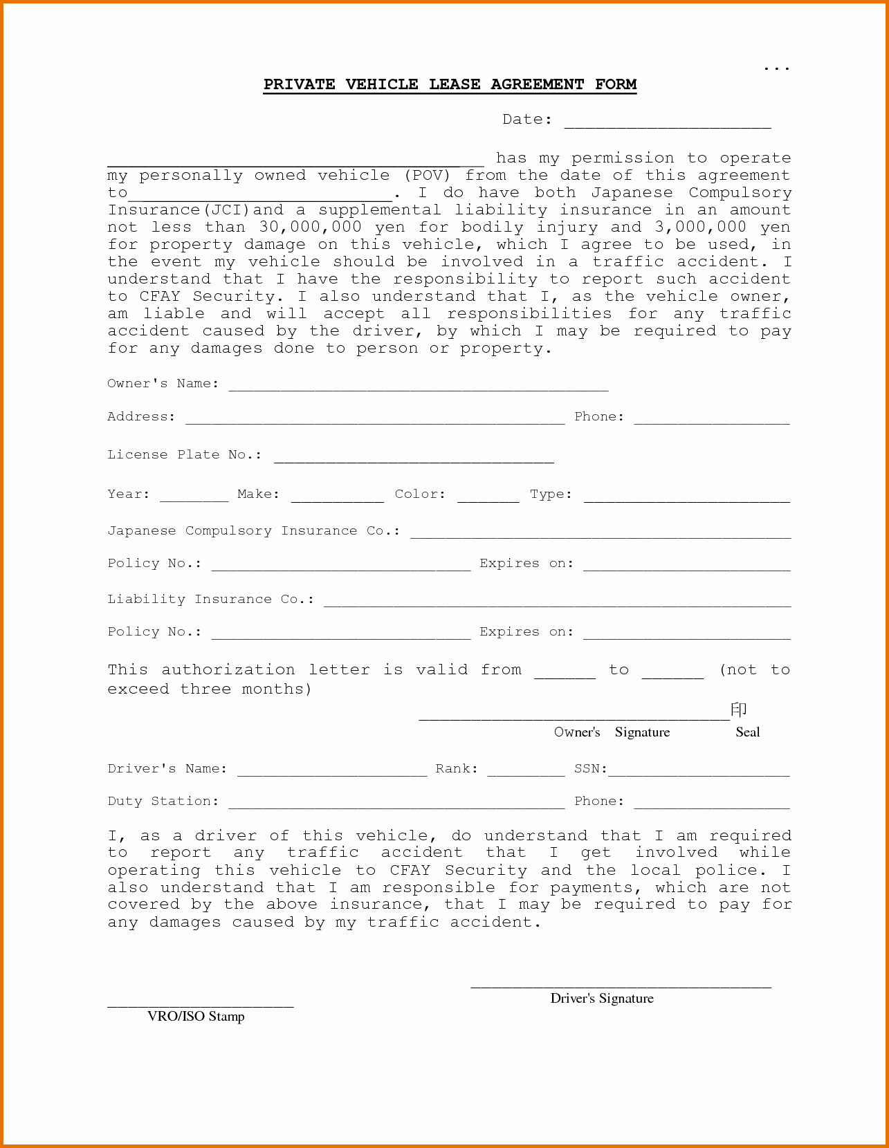 Vehicle Lease Agreement Templatereference Letters Words