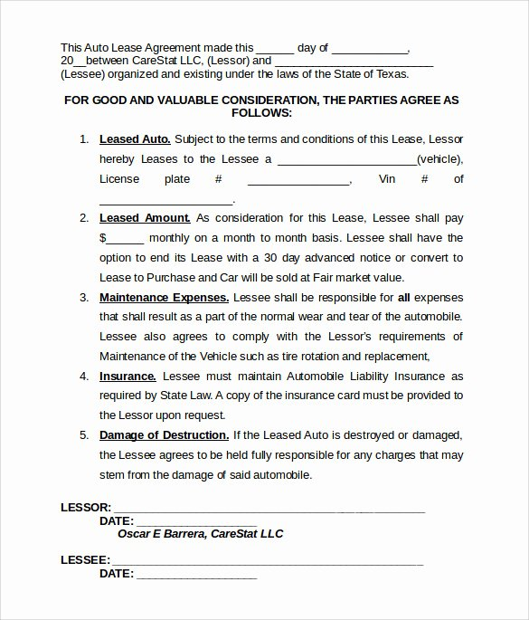 Vehicle Lease Agreement Templates 7 Download Free