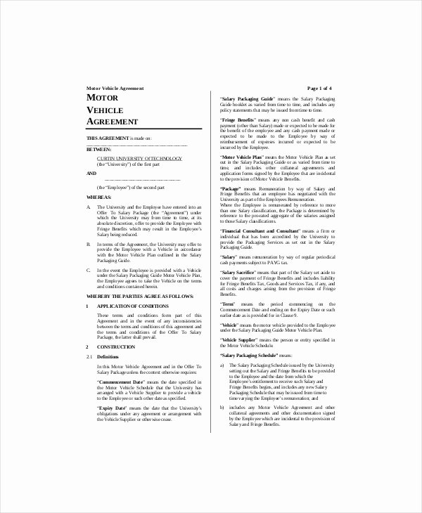 Vehicle Lease Template 5 Free Word Pdf Documents