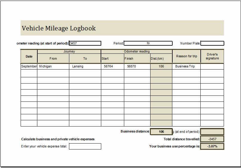 Vehicle Mileage Log Book Ms Excel Editable Template