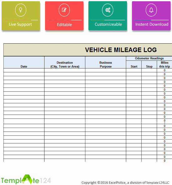 Vehicle Mileage Log Template Excel