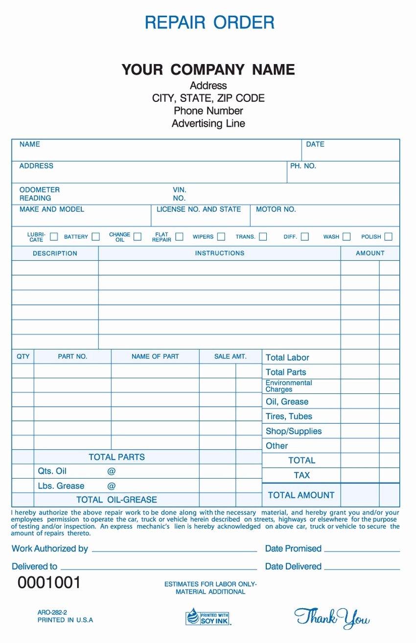 Vehicle Repair Invoice Invoice Template Ideas