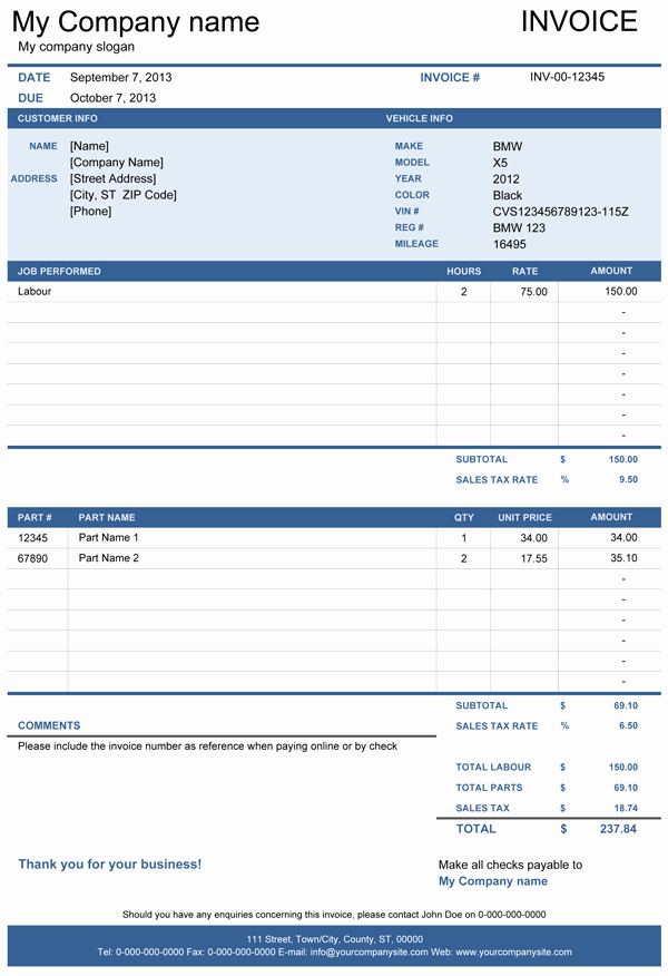 Vehicle Repair Invoice