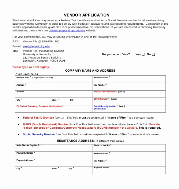Vendor Application Template – 9 Free Word Pdf Documents