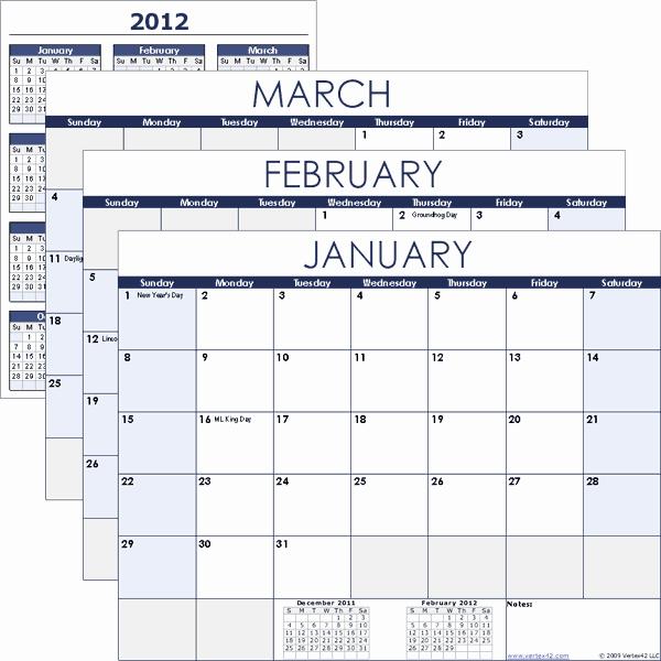 Vertex Free Calendar Templates