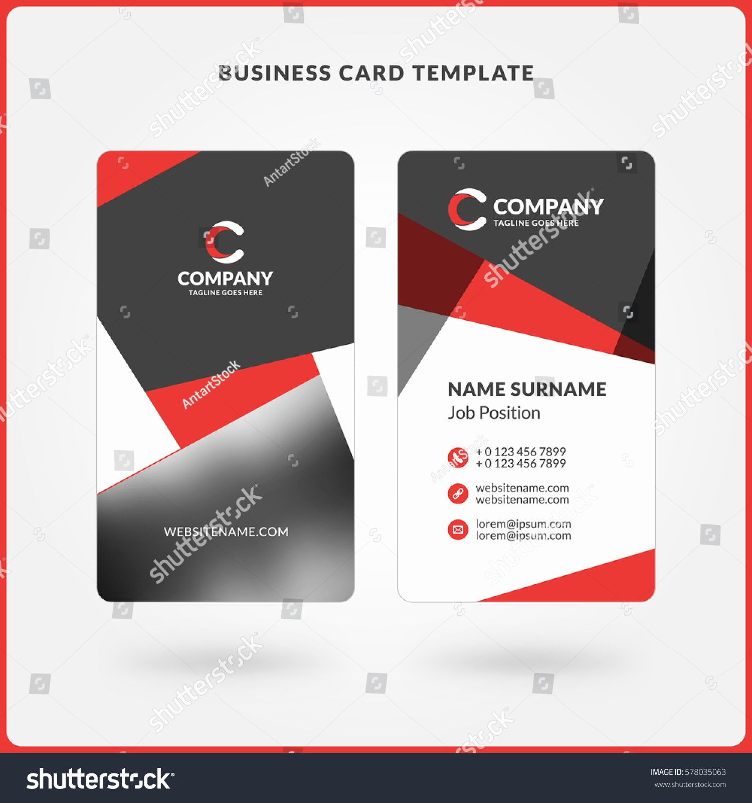 Vertical Doublesided Business Card Template Red Stock