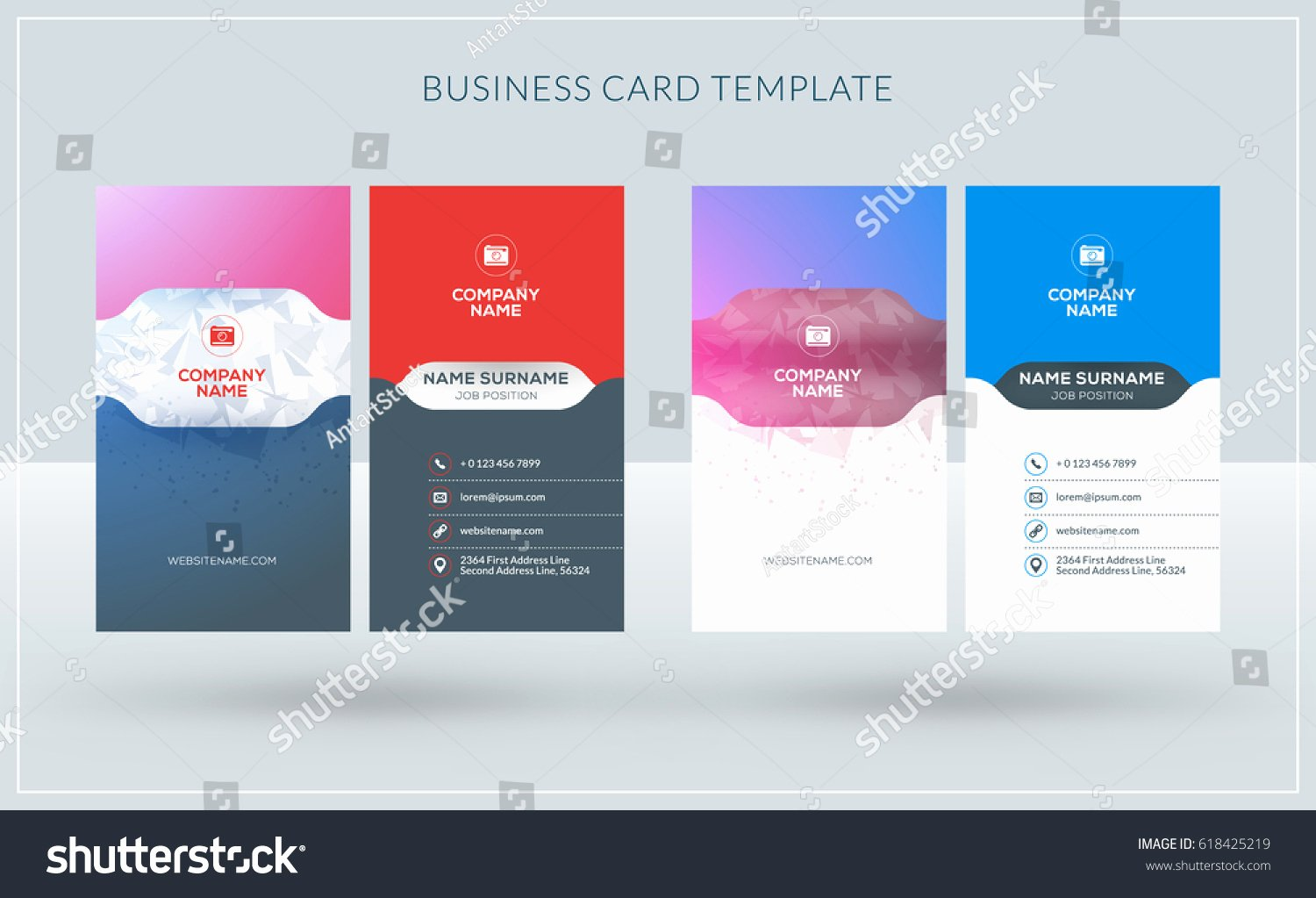 Vertical Doublesided Creative Business Card Templates