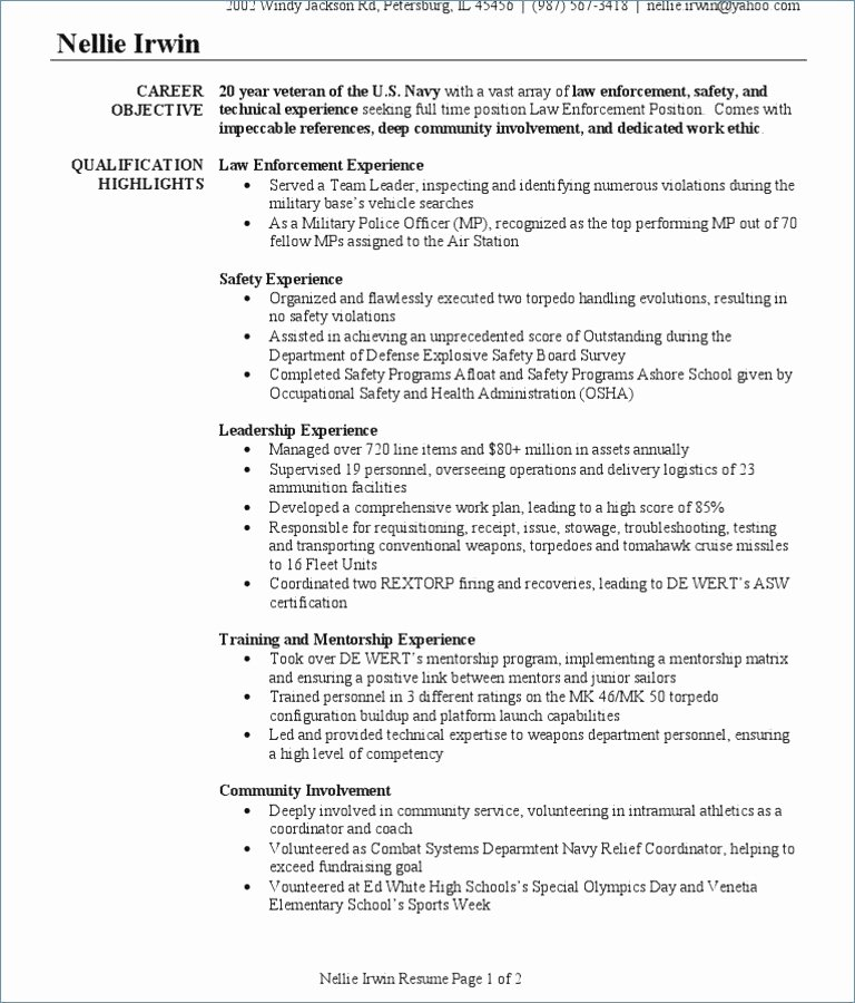 Veteran Resume Builder Fresh Infantry Resume Civilian