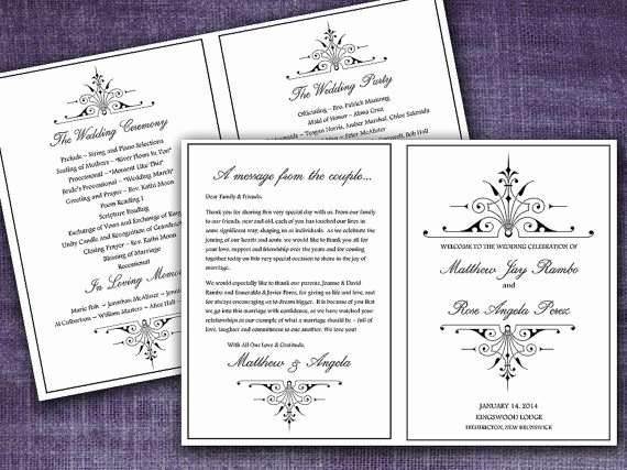 Victorian Romance Half Fold Wedding Program Template