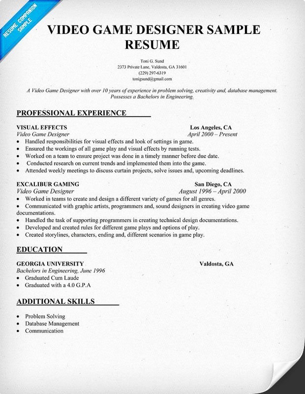 Video Game Designer Resume Sample Resume Panion