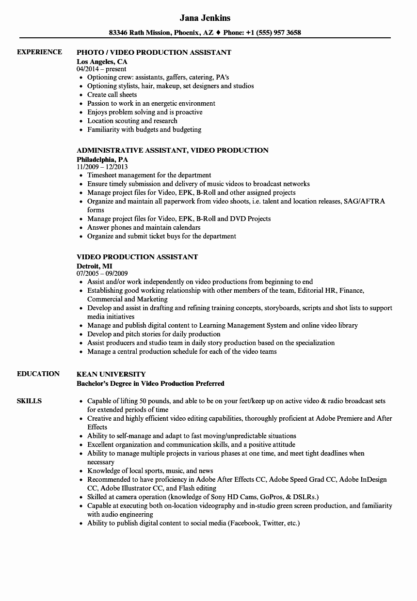 Video Production assistant Resume Samples