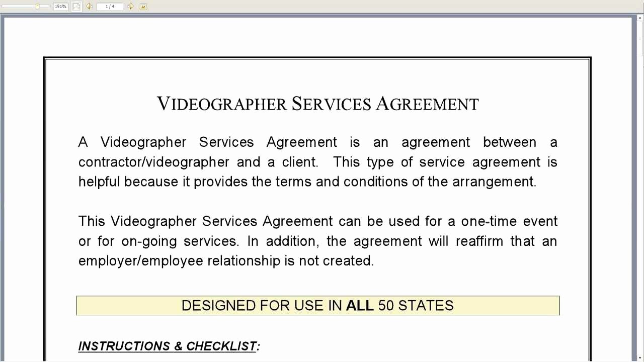 Videographer Services Agreement