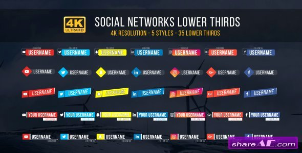 Videohive social Lower Thirds Free after