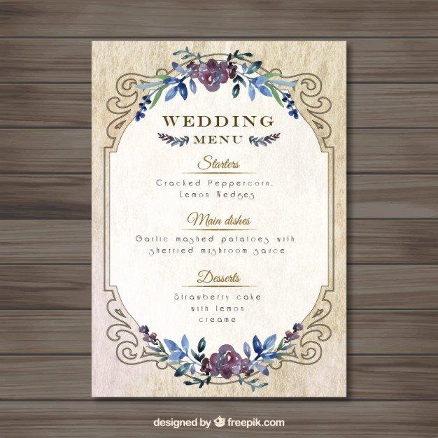 Vintag Wedding Menu Template Vector