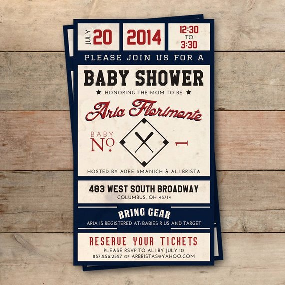 Vintage Baseball Ticket Baby Shower Invitation Personalized