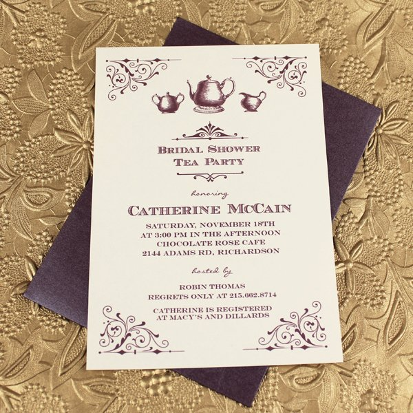 Vintage Bridal Shower Tea Party Invitation Template