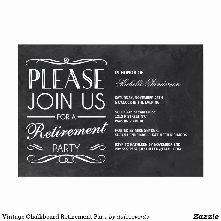 Vintage Chalkboard Retirement Party 5x7 Paper Invitation