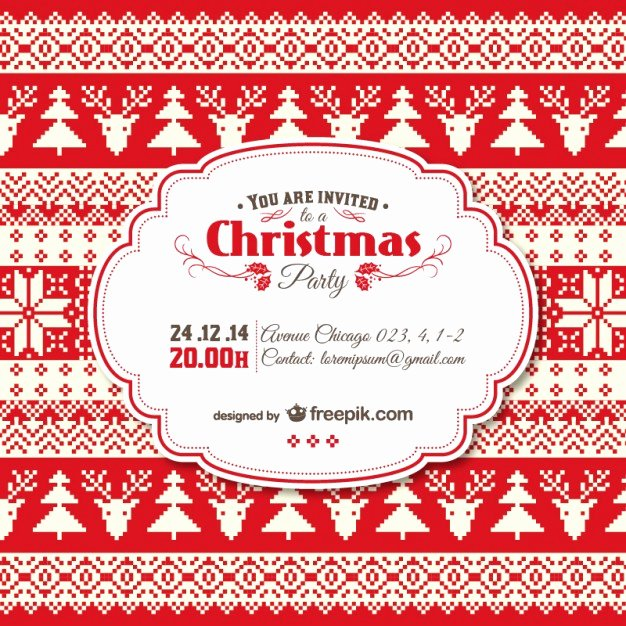 Vintage Christmas Invitation Template Vector