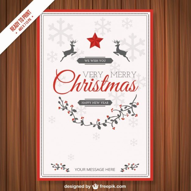 Vintage Cmyk Christmas Card Template Vector