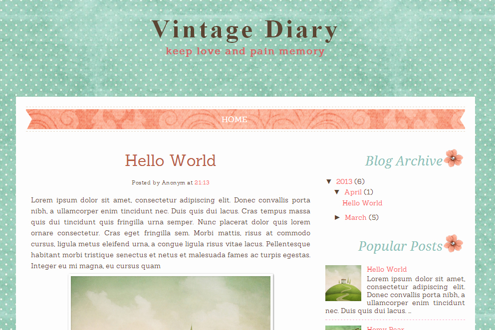 Vintage Diary Free Blog Template