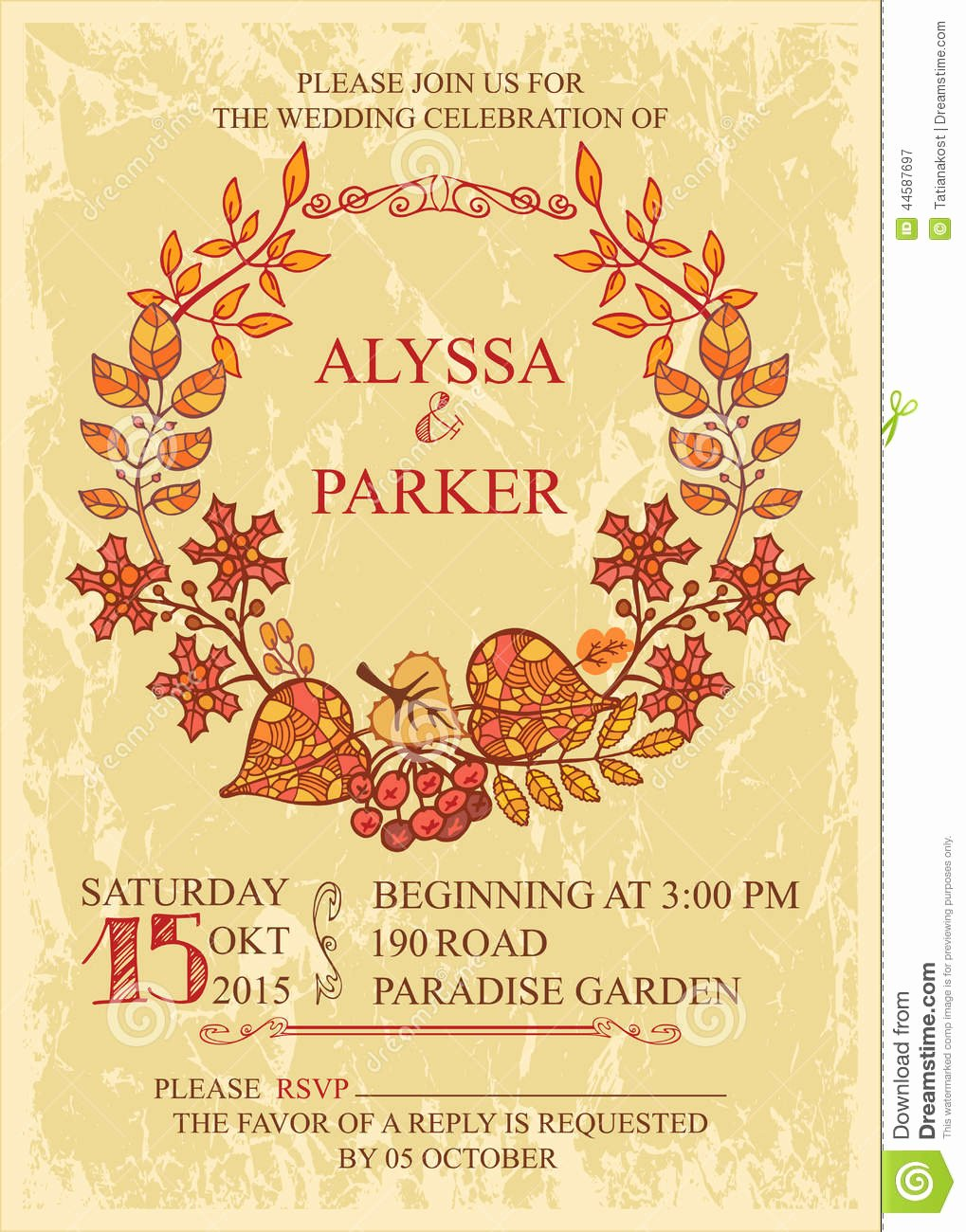 Vintage Fall Wedding Invitation with Leaves Wreath Stock