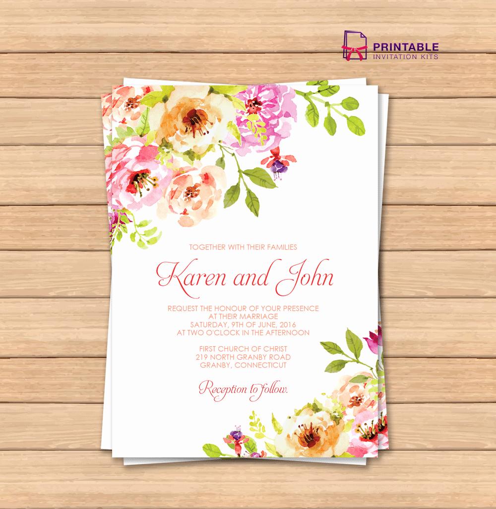 Vintage Floral Border Invitation Template ← Wedding