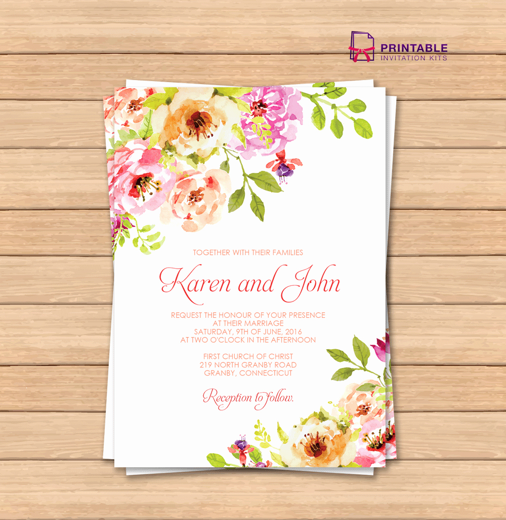 Vintage Floral Border Invitation Template ← Wedding