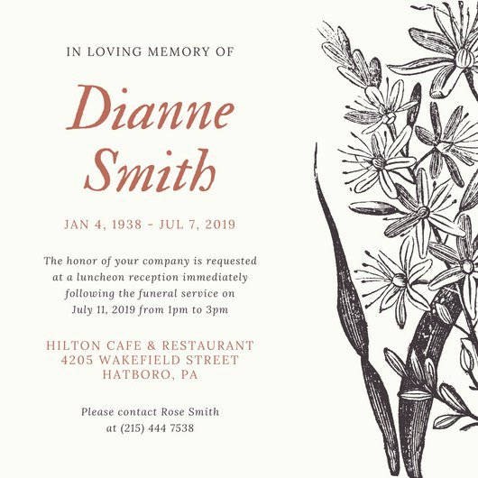 Memorial Service Invitation Template Free Latter Example Template