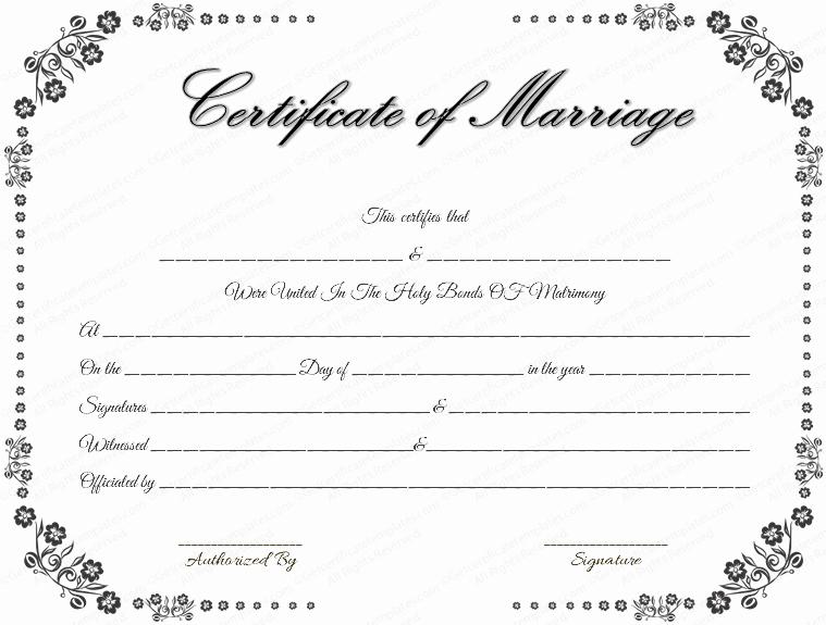 Vintage Flowers Marriage Certificate Template