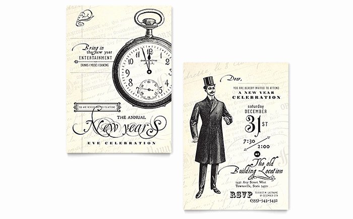Vintage New Year S Party Invitation Template Design