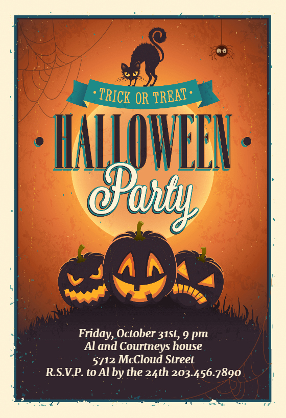 Vintage Party Free Halloween Party Invitation Template