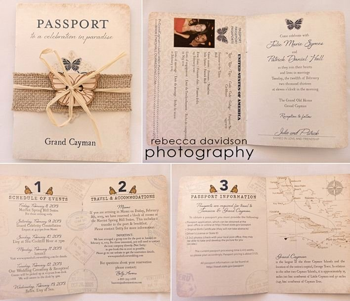 Vintage Passport Style Cayman islands Wedding Invitation