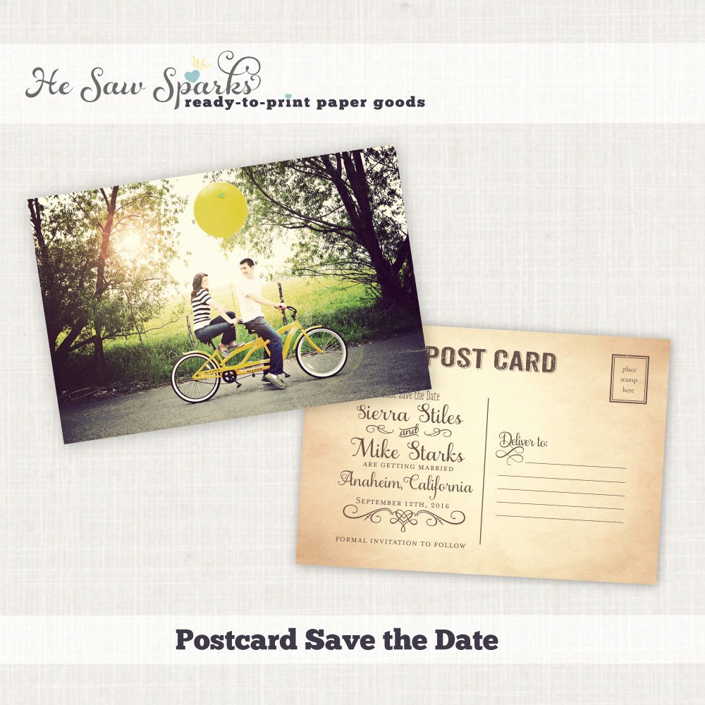 Vintage Postcard Save the Date Diy Printable