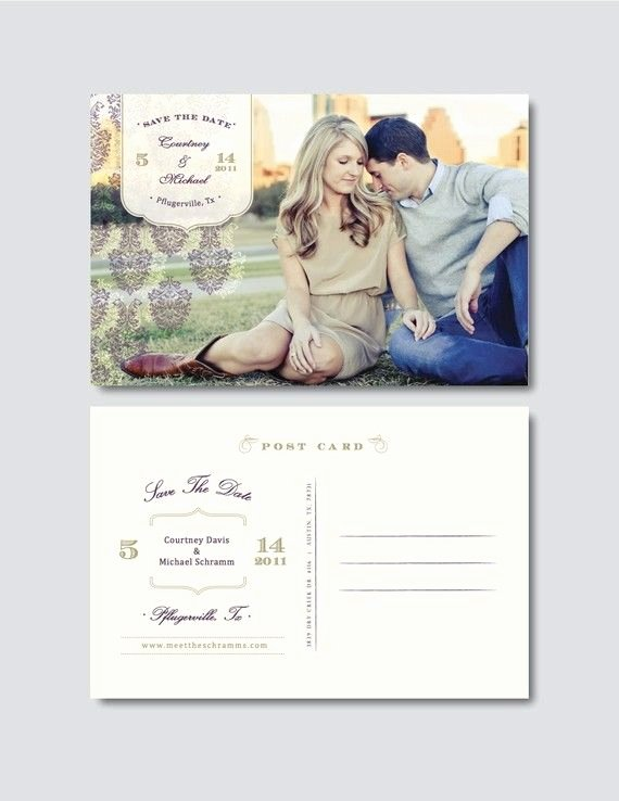 Vintage Save the Date Postcard Template Digital