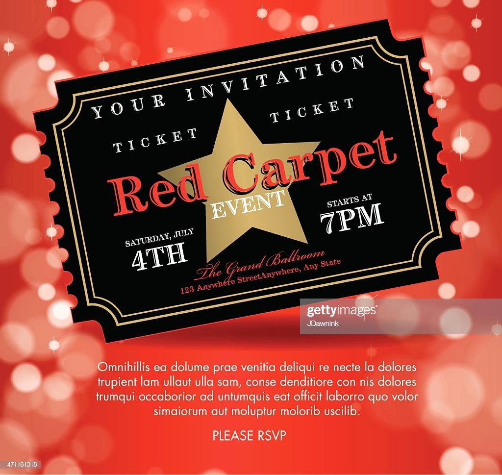 Vintage Style Black Red Carpet event Ticket Invitation