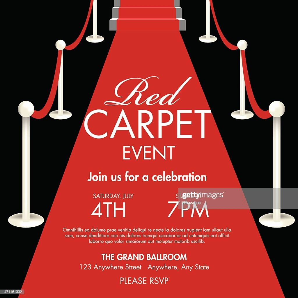 Vintage Style Red and Black Carpet event Ticket Invitation