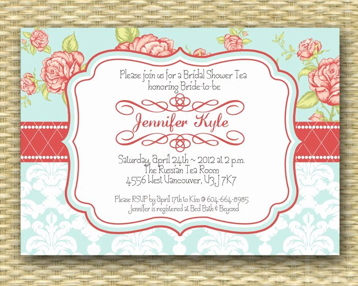 Vintage Tea Party Birthday Invitations Templates