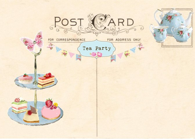 Vintage Tea Party Invitation Tea Party Postcard Printable