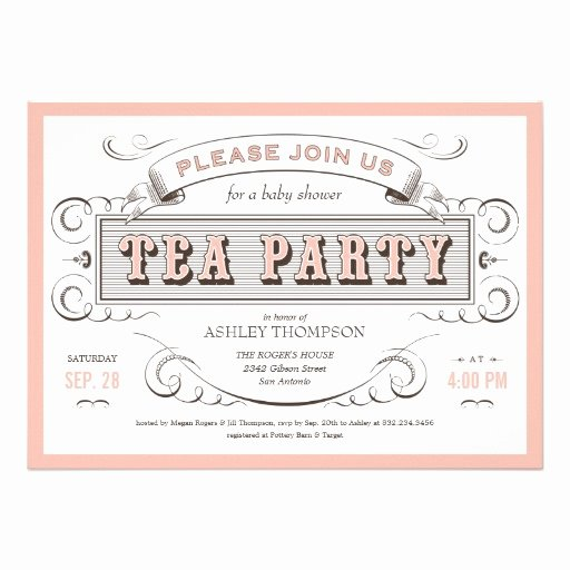 "Vintage Tea Party Invitations 5"" X 7"" Invitation Card"