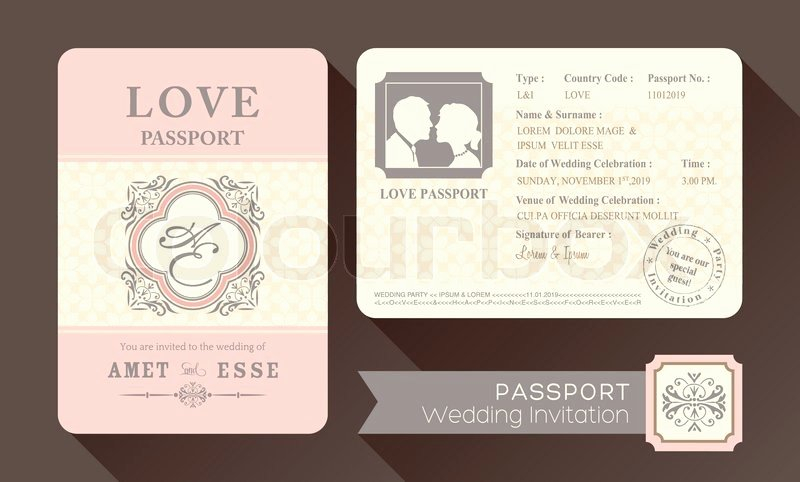 Vintage Visa Passport Wedding Invitation Card Design