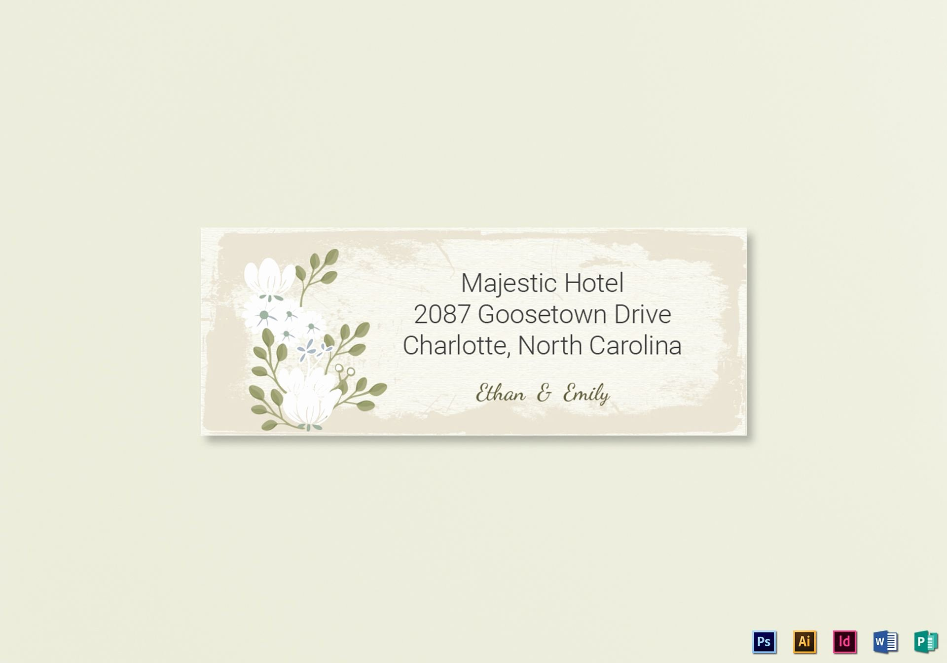 Vintage Wedding Address Labels Card Template In Psd Word